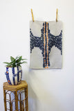 Spotted Path Tea Towel Art - Dark Indigo & Tangerine