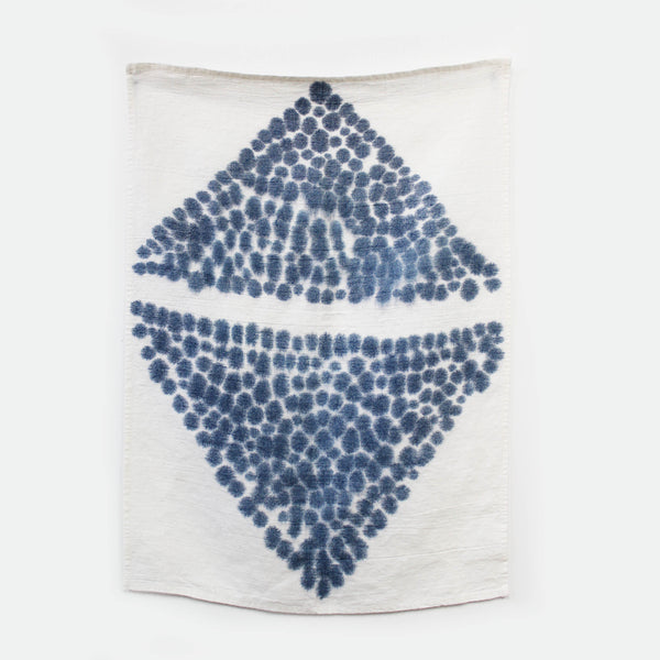 Indigo Diamond Tea Towel Art - Indigo