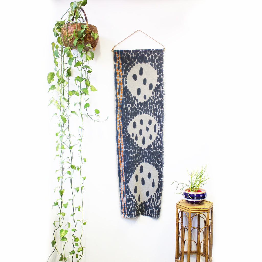 3 Circles Hand Painted Linen Wallpiece With Leather Hanger - Indigo & Tangerine