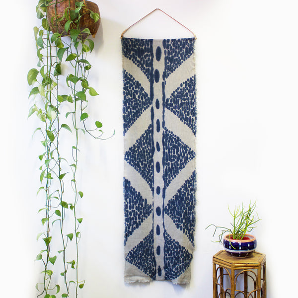 Spotted Diamond Hand Painted Linen Wallpiece With Leather Hanger - Indigo