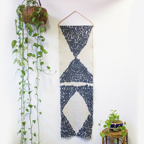 Diamond Hand Painted Linen Wallpiece With Leather Hanger - Indigo