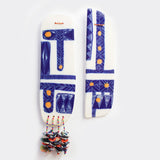 Woven Grafik Ceramic Wall Piece With Embellishments - Indigo & Marigold