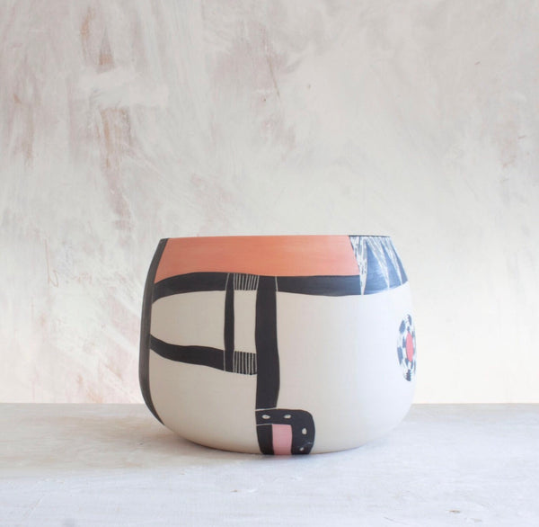 Three Peaks Vessel - Black, Indian Red, Nasturtium & Dusty Pink