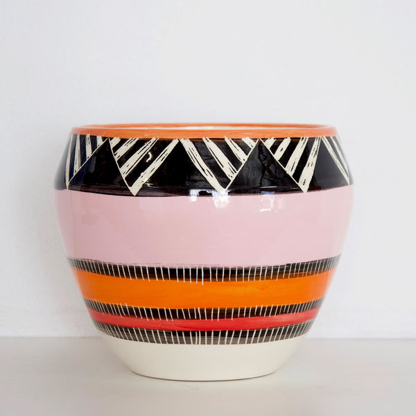 Oblique Orb Vessel - Black, Dusty Pink, Nasturtium & Indian Red