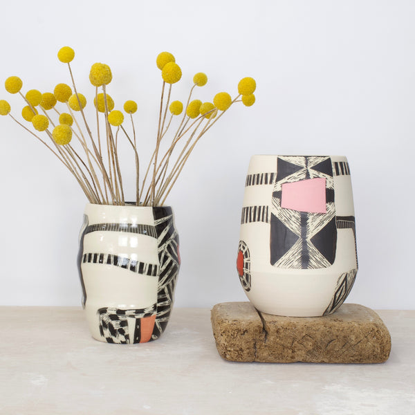 Woven Tracks - Organic Vase  - Black, Dusty Pink, Nasturtium & Indian Red
