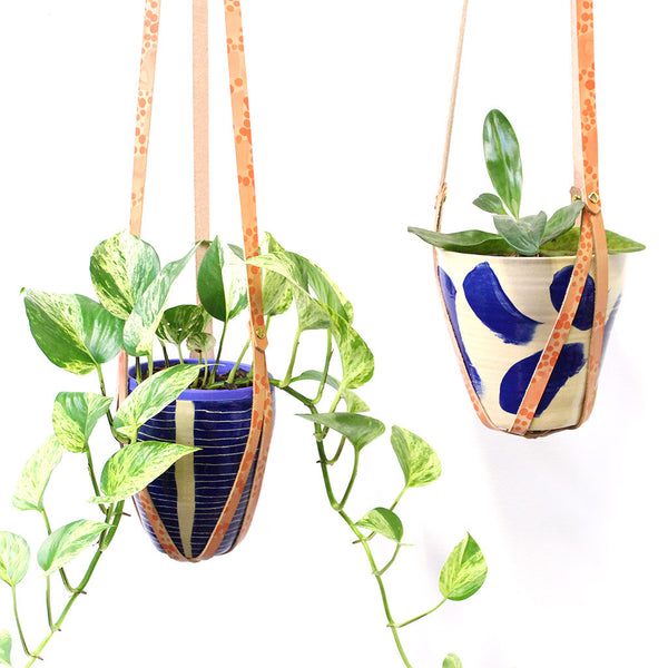 Peachy Spot - Leather plant hanger #LPH003