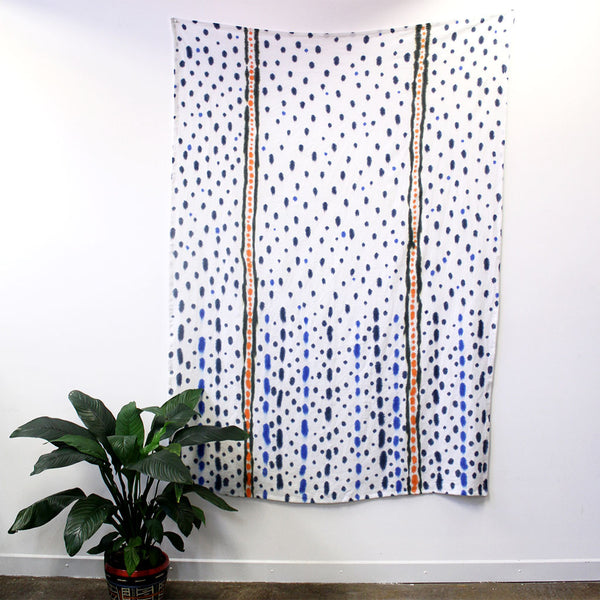 Raining Indigo - hand painted linen throw or wallpiece