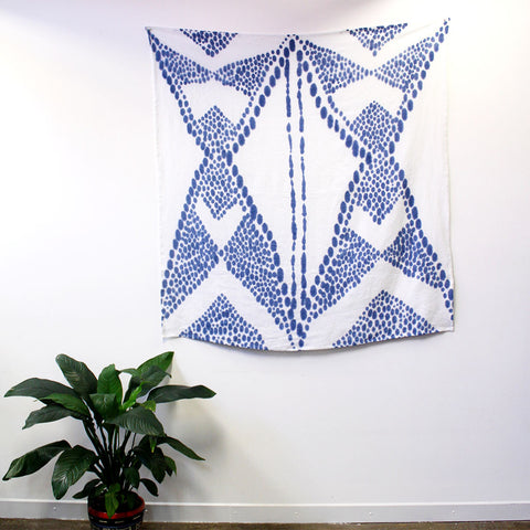 'Diamond Spot' - hand painted linen throw or wallpiece