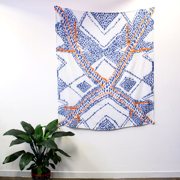 Spotted mask - hand painted linen throw or wallpiece