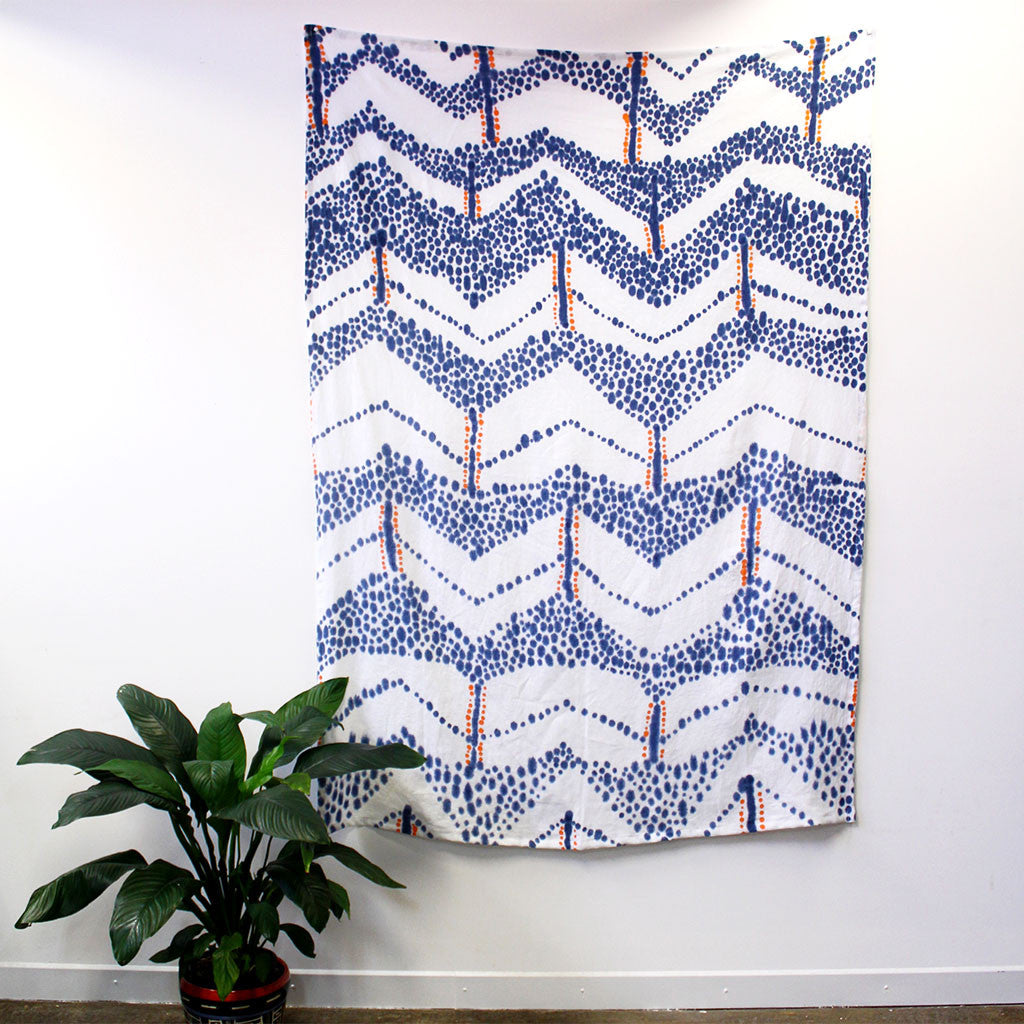 'Chevron Spots' - hand painted linen throw or wallpiece
