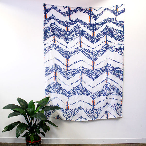 Chevron Spots hand painted indigo tangerine linen throw wall piece