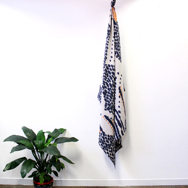 Double Diamond - hand painted linen throw or wallpiece