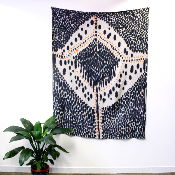 Diamond Heart - hand painted linen throw or wallpiece