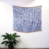 Raining Indigo fringe - hand painted linen throw or wallpiece with fringe