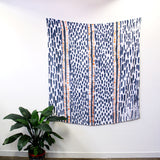 'Spots and Dashes' - hand painted linen throw or wallpiece