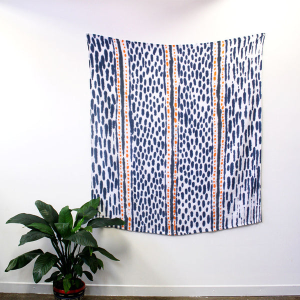 Spots and Dashes - hand painted linen throw or wallpiece