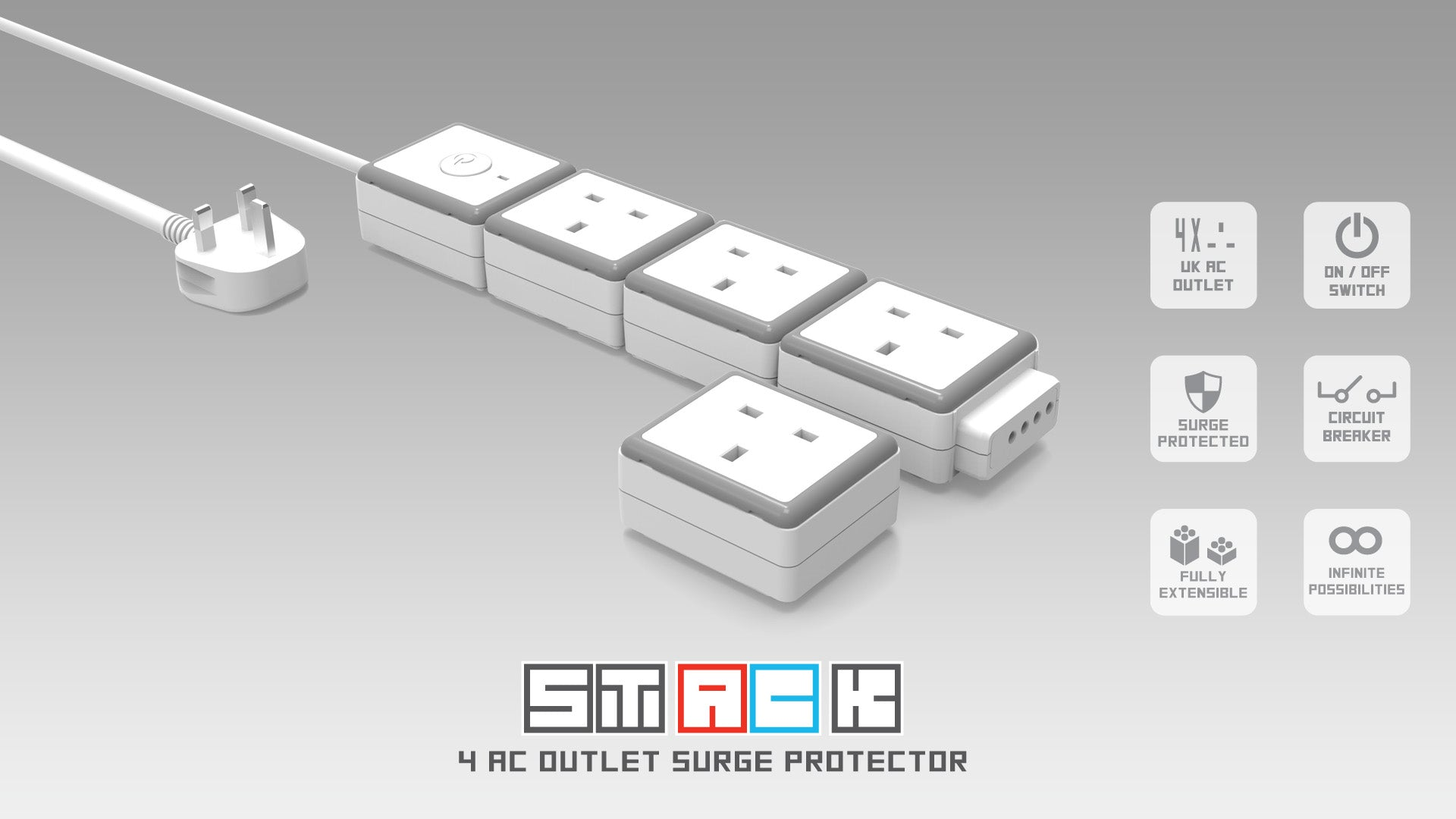 Stack 4 Uk Ac Outlet Surge Protector Oneadaptr Protection Circuit