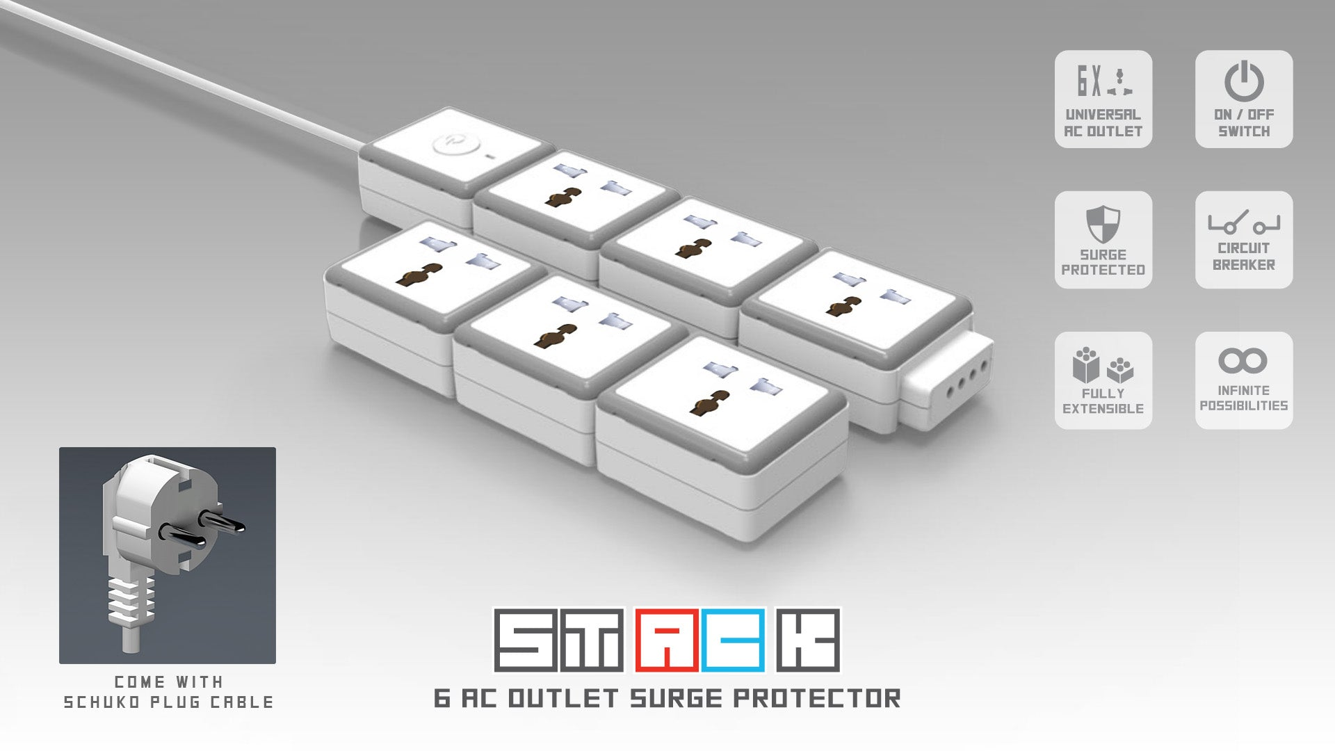 Stack 3 Us Outlet Extension Module Oneadaptr