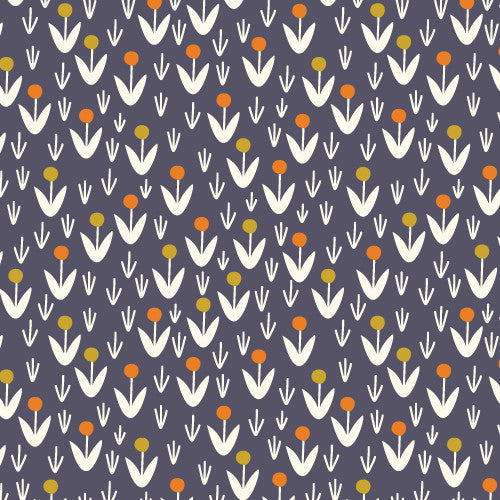 "Dotty Blooms Navy | ONE YARD CUT (36""X45"")"