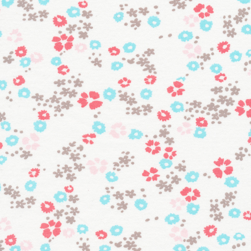 "Scattered flower White | KNIT | HALF YARD PRE-CUT (18""X56"")"