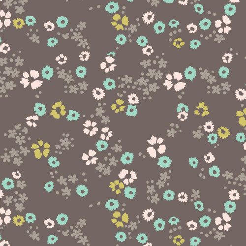 "Scattered flower Brown | KNIT (HALF YARD PRE-CUT (18""X56"")"