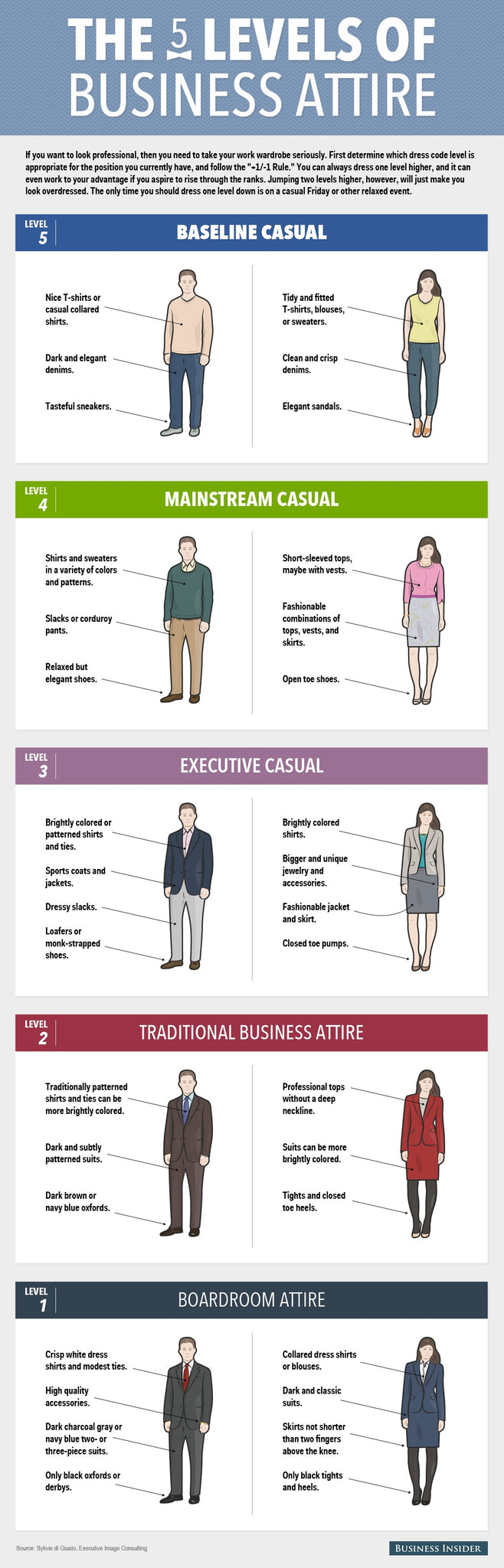 ccording to image consultant Sylvie di Giusto, there are 5 levels of work attire..