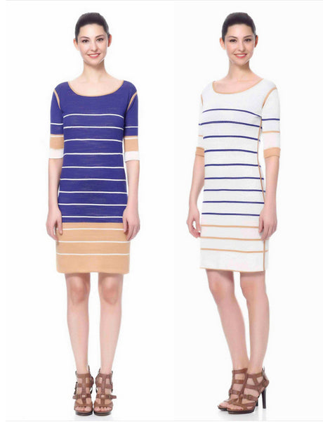 AMANDINE reversible stripe knit dress - Jia Collection