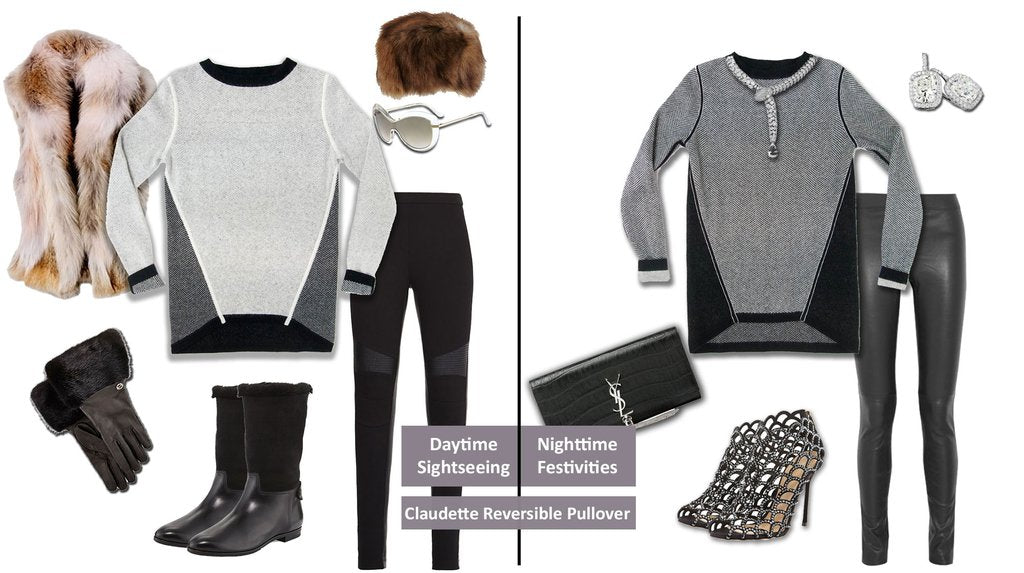 travel outfit - Day to night Claudette reversible knit jacqaurd pullover Jia Collection