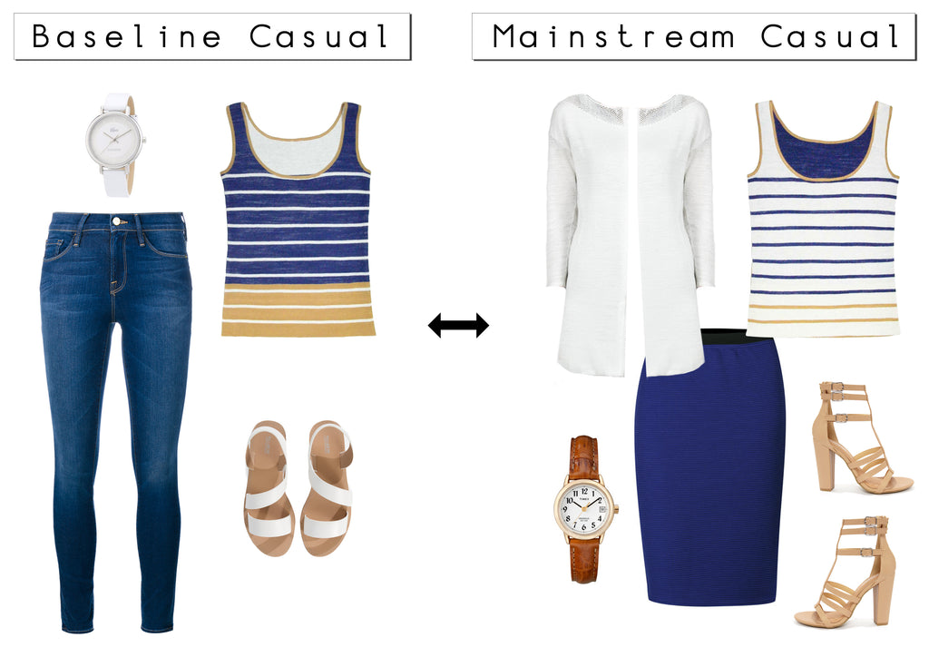 The Abelle reversible striped top can go from being baseline casual to Mainstream causal.