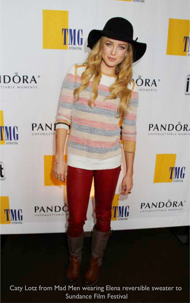 Caty Lotz wearing Elena reversible pullover more muted side to Sundance.