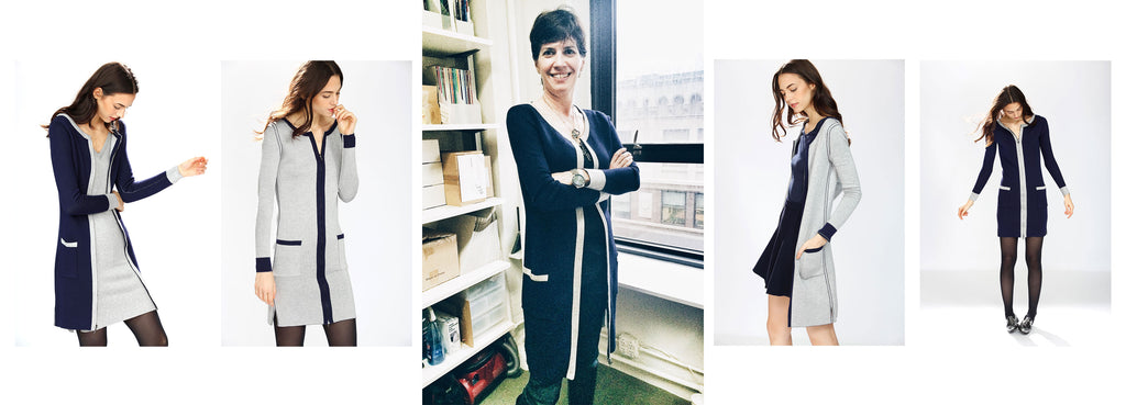 Kelly Hoey wearing Jia Collection Danielle 4-way reversible/convertible dress cardigan