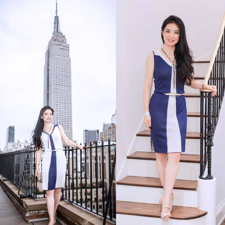 Jia wore the elegant reversible sleeveless knit Estee dress to a recent event