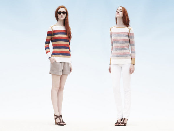 2 WAYS. Reversible 2-look-in-one stripe pullover. bright stripe vs. muted stripe.