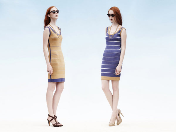 2 WAYS. Reversible 2-look-in-one sheath dress. nautical stripe vs. gold jacquard.
