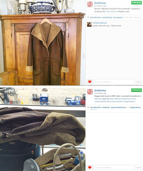 Kelly's Instagram photos of our Hayden coat on her trip to Denver/Boulder
