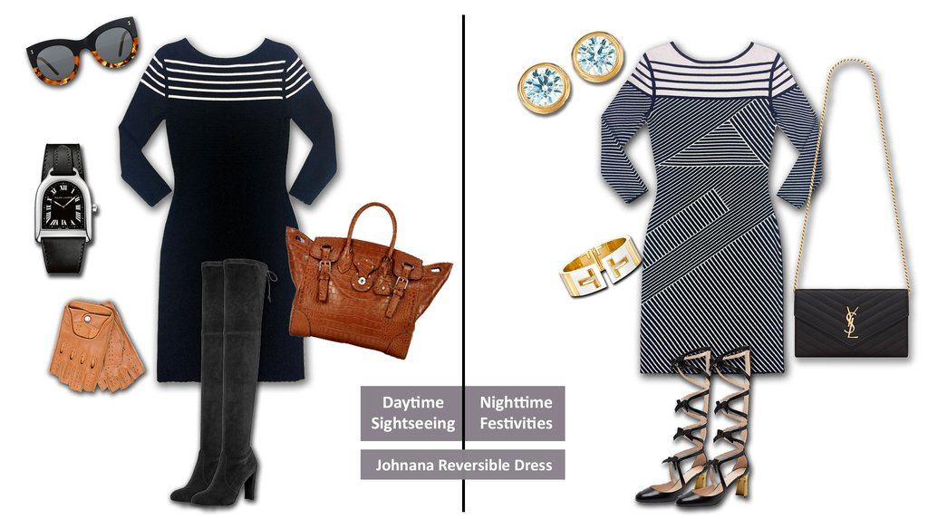 travel outfit - Day to night  Johana reversible knit jacqaurd stripe dress Jia Collection