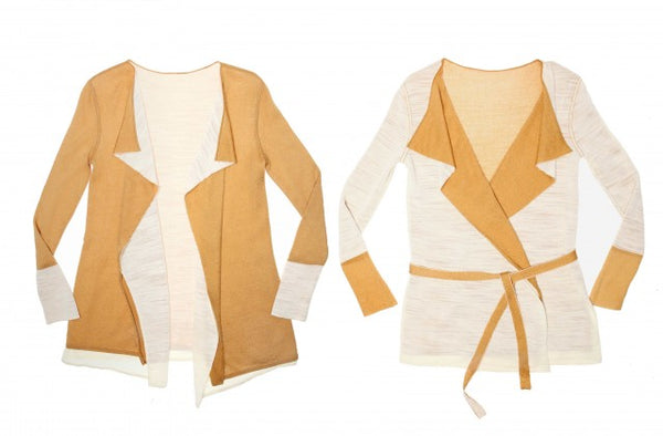 2 WAYS. Reversible 2-colorway-in-one jacket with draped front.