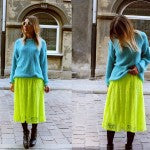 Polish fashionista Katarzyna pairs this simple vintage sweater with a shockingly chartreuse skirt from ASOS.