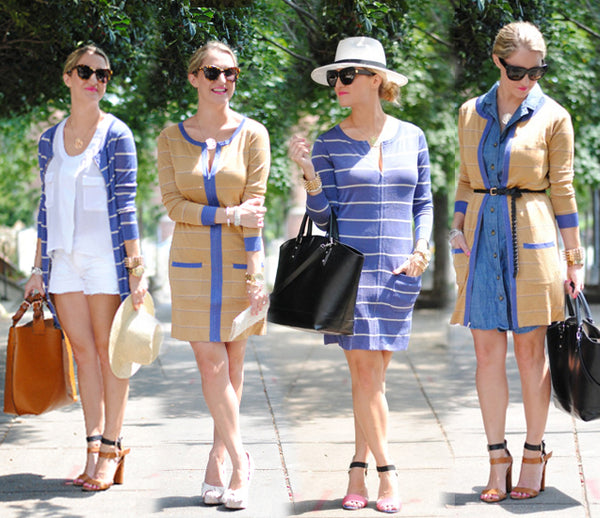Blogger Lacey Maffettone wear Jia Collection Clara 4-way dress/cardigan for 4 different looks.