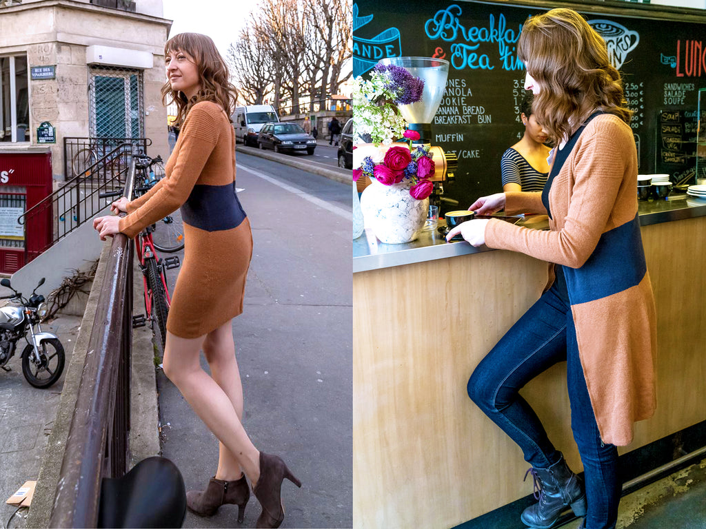 Pola Henderson in the Oksana reversible Cardigan dress staying warm in cafes while working and looking chic on the streets of Paris.