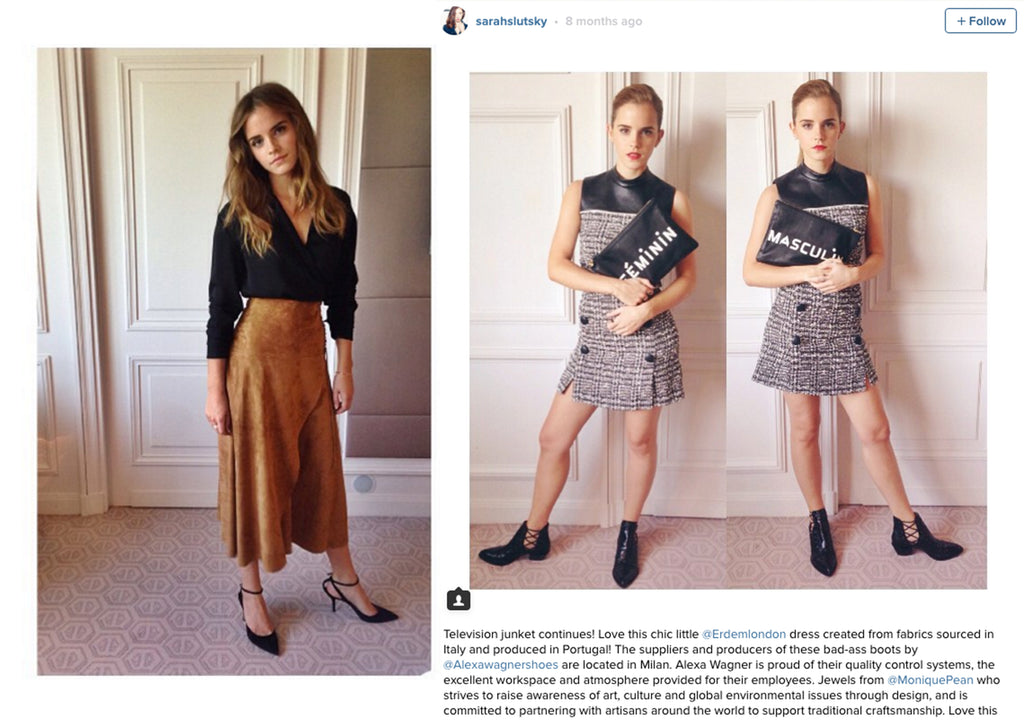 Sarah Slutsky's Instagram posts about Emma Watson's sustainable outfits on her Regression movie tour.