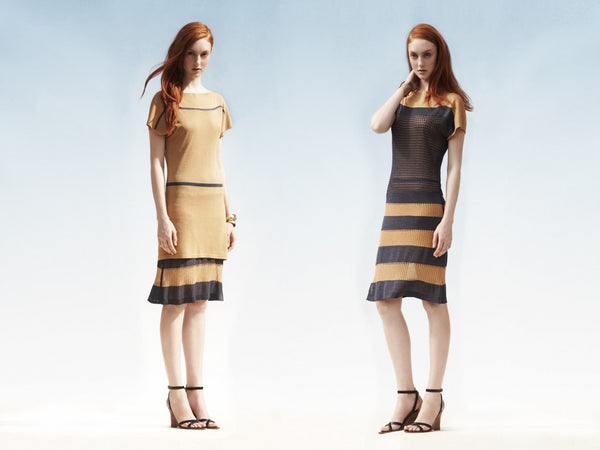 2 WAYS. Reversible 2-look-in-one straight dress. Contrast lace panels vs. Contrast stripe.