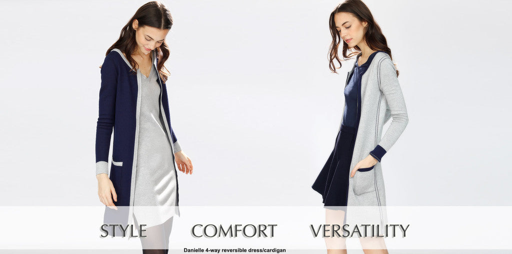 Danielle 4-way reversible/convertible silk/cashmere dress cardigan - for work, travel, cocktail events
