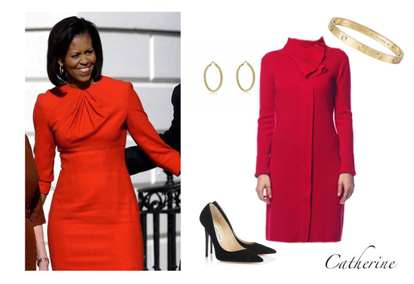 Michelle Obama in classic red dress with added texture for a fun, feminine touch. Featuring the Jia Collection Catherine convertible dress/cardigan.