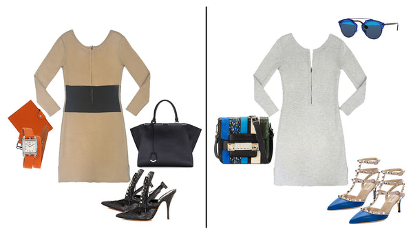 The grey/beige reversible Erin dress is a wardrobe must have for any professional woman.