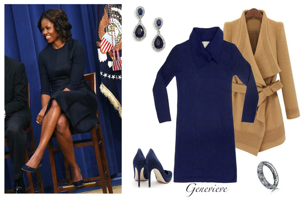 Michelle Obama in a beautiful navy blue dress with matching pointed toe pumps. Featuring the Jia collection Genevieve elegant reversible dress.