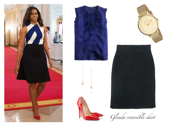 Michelle Obama in a classic pencil skirt and silk top, featuring the Jia Collection Glenda reversible pencil skirt.