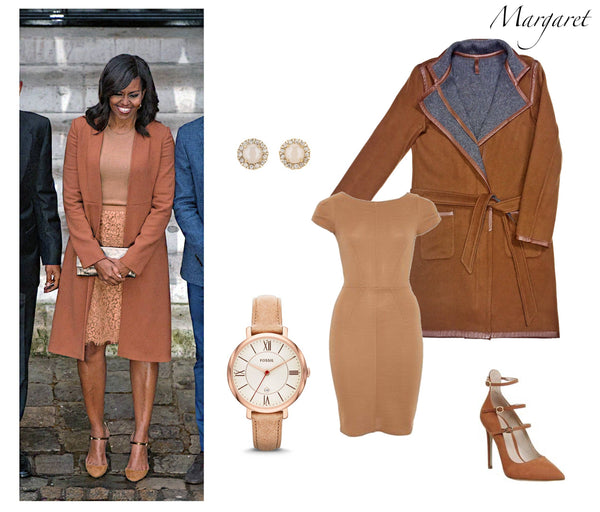 Michelle Obama in layered neutrals, featuring Jia Collection reversible wool/cashmere coat in brown/gray.