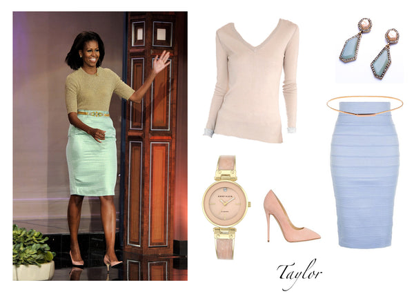 Michelle Obama looking beautiful in all pastel colors. Featuring the Jia Collection Taylor reversible pullover in pink/beige/gray.