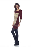 Evelyn Colorblock Knit-Dress - Burgundy